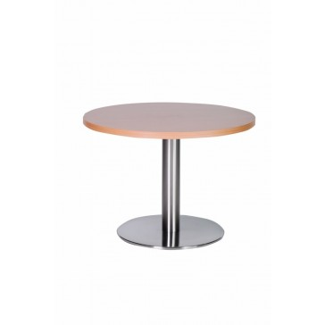 Stainless Steel Coffee Table Round Natural Beech Top