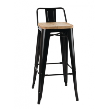 Metal Bistro High Stool Black With Back & Ash Seat