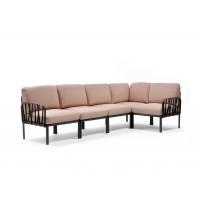 NARDI Komodo Corner Sofa Antracite / Rosa